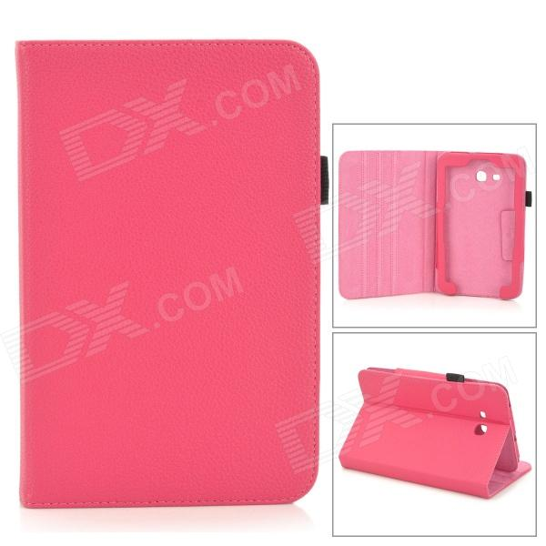 Lichee Pattern Protective PU Leather Case for Samsung Galaxy Tab 3 Lite T110 - Dark Pink