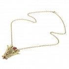 New Moon Volturi Crest Style Zinc Alloy Pendant Necklace for Women - Bronze + Red + Multicolored