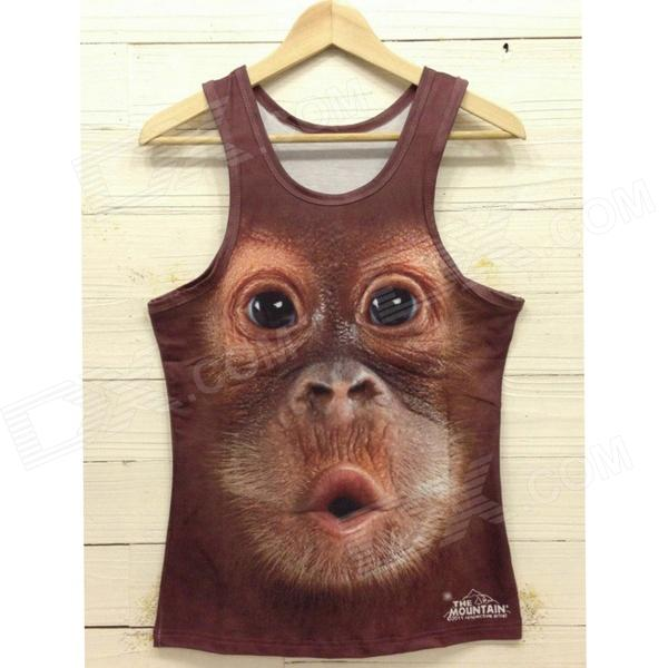 Y-558 Men's Stylish 3D Monkey Pattern Cotton I-shaped Vest - Brown + Black (L)