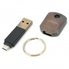 TS007 Micro USB Male to USB Male Key Chain Cable - Black + Silver