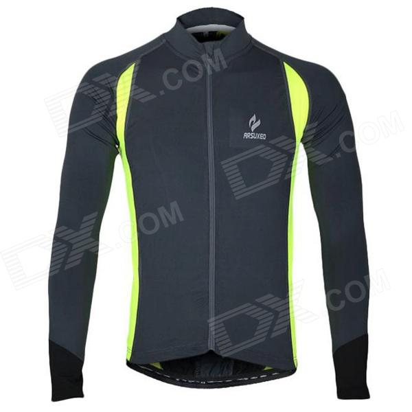 ARSUXEO AR60026 Quick-dry Outdoor Cycling Jersey for Men - Grey + Fluorescent Green (Size XXL) arsuxeo ar13d3 quick drying cycling polyester jersey for men red white black xxl
