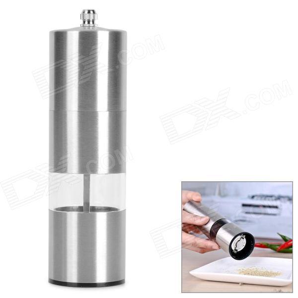 Convenient Modern Stainless Steel + Acrylic Pepper Spice Sea Salt Mill Grinder Muller - Silver portable stainless steel electric pepper spice salt milling grinder red silver 6 x aaa