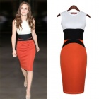 Fashion Cotton Sleeveless Hip-Pack Dress - White + Red + Black (L)