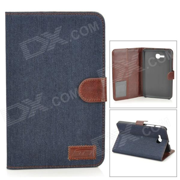Protective Denim PU Leather Case for Samsung Galaxy Tab 3 Lite T110 - Black Blue + Brown чехол для samsung galaxy tab 3 7 0 samsung vip case f btpc002rbr brown