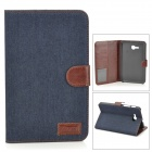 Protective Denim PU Leather Case for Samsung Galaxy Tab 3 Lite T110 - Black Blue + Brown