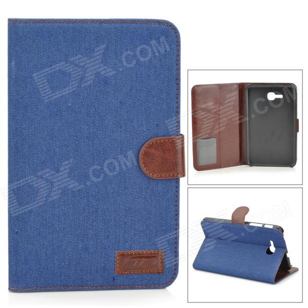 Protective Demin PU Leather Case for Samsung Galaxy Tab 3 Lite T110 - Dark Blue + Brown чехол для samsung galaxy tab 3 7 0 samsung vip case f btpc002rbr brown
