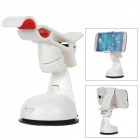 ZEA3-12-1JZ Universal ABS Rotary Desktop Cellphone Holder w/ Suction Cup - White