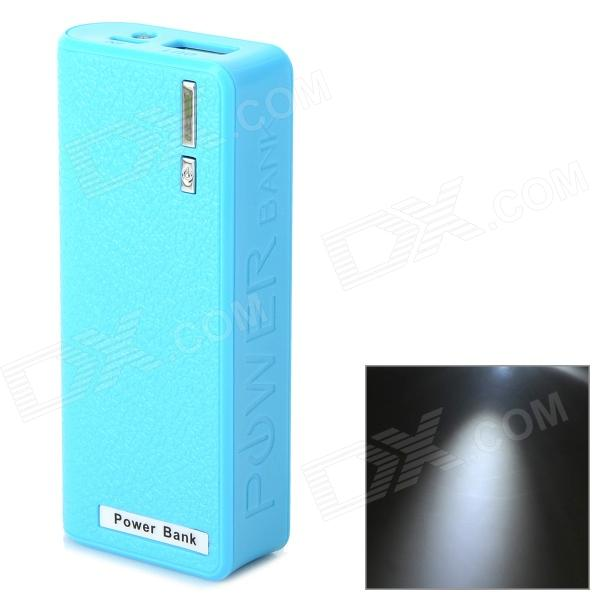 IKKI Portable External 5V 5000mAh Power Bank w/ Flashlight + Charging Cable for Samsung - Blue