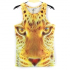 Y-552 Men's Stylish 3D Leopard Pattern Cotton I-shaped Vest - Yellow (L)