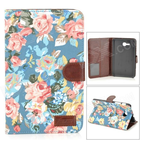 Protective Flower Cloth PU Leather Case for Samsung Galaxy Tab 3 Lite T110 enkay butterfly pattern protective case w stand for samsung galaxy tab 3 lite t110 multicolor