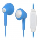 LANSHIDUN i-15 Stylish 3.5mm Jack Wired In-ear Stereo Headset w/ Microphone - White + Deep Blue