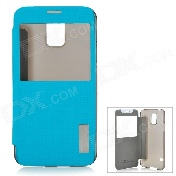 ROCK Protective Smart PC + PU Leather Case for Samsung Galaxy S5 - Blue + Translucent Black risunmotor exclusive customized black