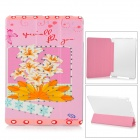 Manleybird 002 Lily Pattern Protective PU Leather + Plastic Case for IPAD AIR - Pink + Brown