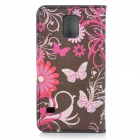 Butterfly Pattern Protective Flip-open PU Leather Case for Samsung Galaxy S5