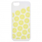 Button Pattern Protective Silicone Back Case for IPHONE 5 / 5S - Cream-colored + Yellow
