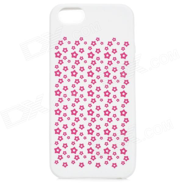 Bellis Perennis Pattern Protective Silicone Back Case for IPHONE 5 / 5S - White + Red protective silicone case for nds lite translucent white