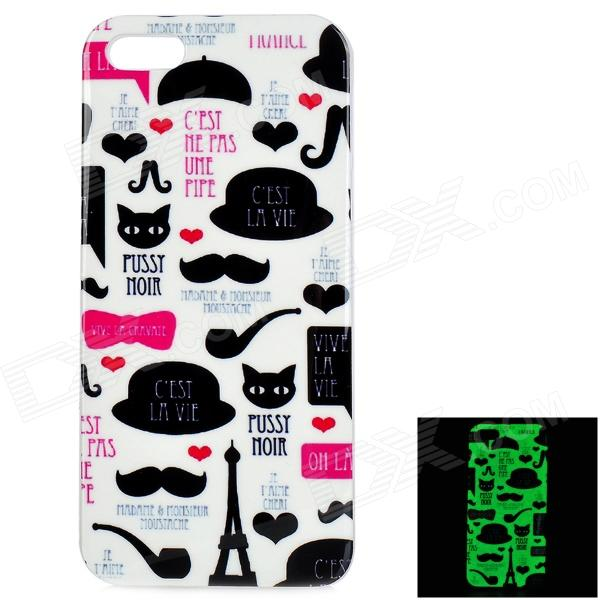 Glow-in-the-Dark Graffiti Pattern Protective TPU Voltar para o iPhone 5 / 5S - Branco + Preto