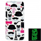 Glow-in-the-Dark Graffiti Pattern Protective TPU Back Case for IPHONE 5 / 5S - White + Black