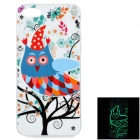 Owl Pattern Protective TPU Back Case for IPHONE 5 / 5S - White + Multicolored