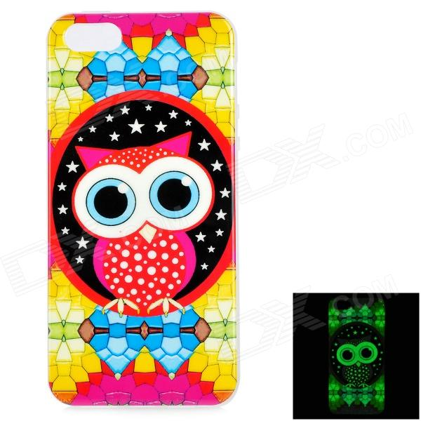 Graffiti Owl Pattern Protective TPU Back Case for IPHONE 5 / 5S - Yellow + Multicolored