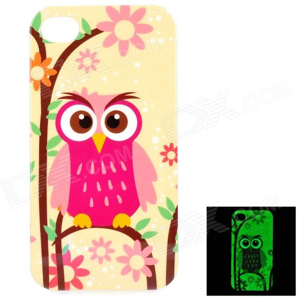 Owl Pattern Protective TPU Back Case for IPHONE 4 / 4S - Yellow + Multicolored holes pattern protective tpu back case for iphone 6 4 7 yellow