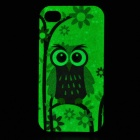 Owl Pattern Protective TPU Back Case for IPHONE 4 / 4S - Yellow + Multicolored