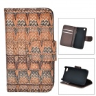 Woven Pattern Protective Flip-open PU Leather + Plastic Case for IPHONE 4 / 4S - Brown