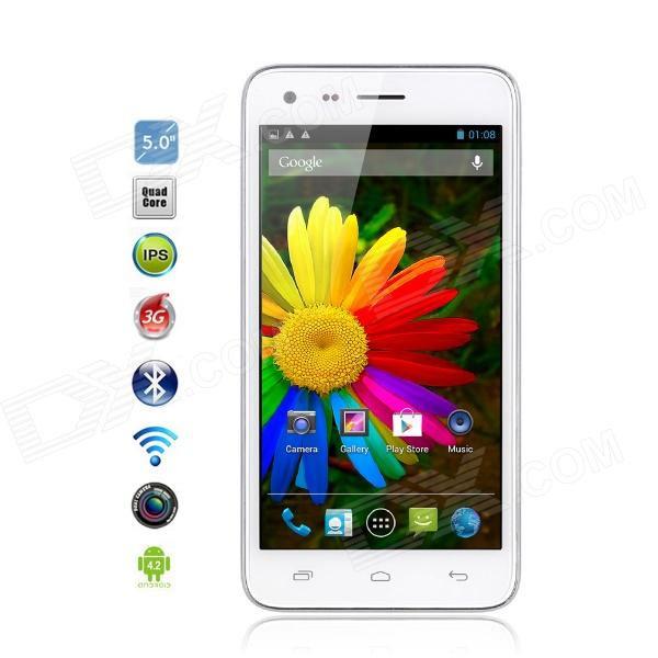 "Catee CT300 MTK6582 Quad-Core-Android 4.2 WCDMA Bar Phone m / 5,0 ""IPS, 8,0 MP, GPS, 4 GB ROM - Hvit"