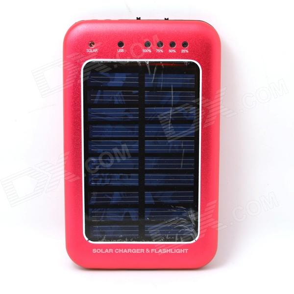 Solar Powered 2000mAh External Battery Charger Power Source Bank - Red jc4w60 foldable 5000mah solar powered external battery power bank white black