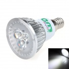 LUO V07 E14 3W 300lm 6000K 3 x SMD LED White Light Spotlight - Silver (95~245V)