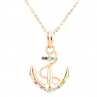 ZC-1112 Creative Bow & Arrow Shaped Rhinestone Necklace for Women - Golden