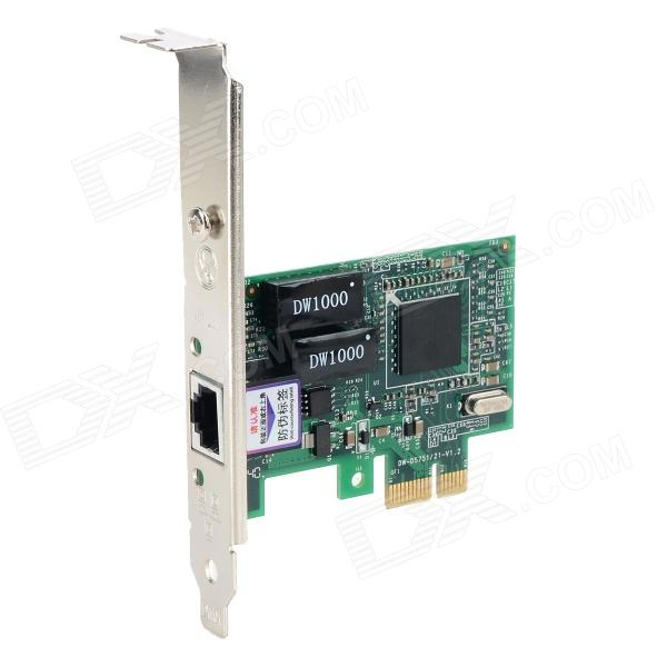 DIEWU 1000Mbps Broadcom 5751 PCI-E Network Card w/ RJ45 - Green + Black + Multicolored