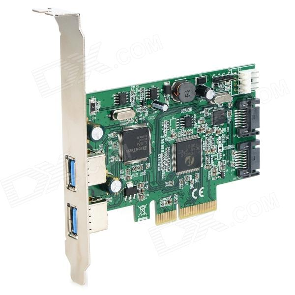 PCI-E 2-Lane USB 3.0 + SATA PCI-Express Card - Green + Black контроллер pci e sata ide 2 1 port sata raid jmb363 bulk
