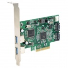 PCI-E 2-Lane USB 3.0 + SATA PCI-Express Card - Green + Black