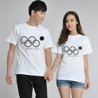 Fashionable Sochi Faulty Olympic Rings Pattern Cotton T-shirt - White (XXL)