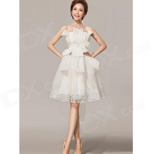 H-002 Fashion Yarn Bridesmaid Dress - Milky White (M)