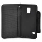 Protective PU Leather + PC Case w/ Hand Strap / Card Slots for Samsung S5 - Black