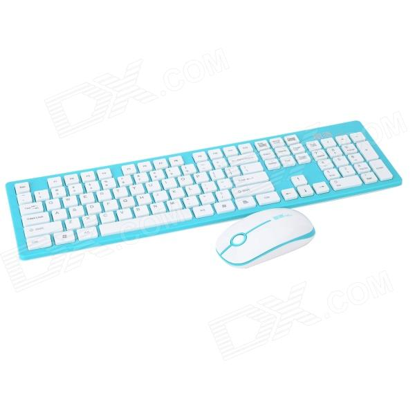 Forter G9300 2.4GHz Wireless Keyboard + Optical Mouse Set - Green + White (2 x AA)