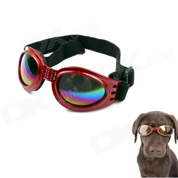Folding Headband Adjustable Pet Dog Outdoor Eye Protection Goggles Glasses - Red