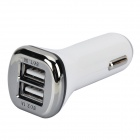 3.1A Dual USB Car Cigarette Lighter Charger + Charging/Data Cable for Samsung S5 - White (12~24V)