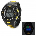 Lasika W-F77 Men's Waterproof Rubber Band Quartz LED Digital Wrist Watch - Black (1 x CR2025)