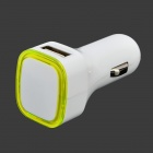 Dual USB 2.0 Car Cigarette Lighter Charger - White + Fluorescent Green