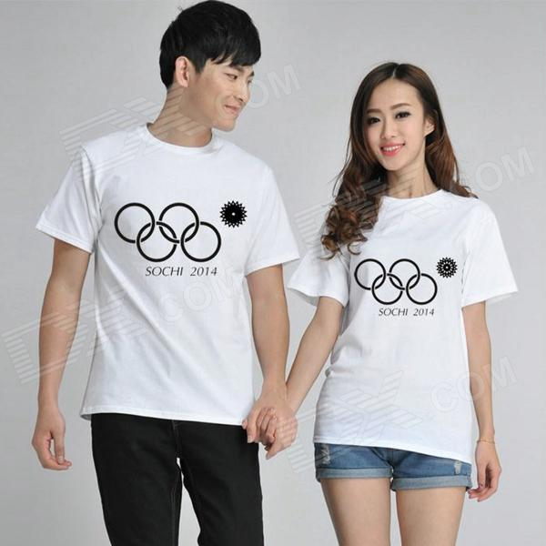 Fashionable Sochi Faulty Olympic Rings Pattern Cotton T-shirt - White (XL)