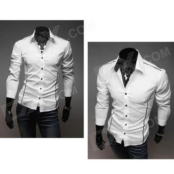 5902001399 Men's Stylish Custom Fitting Cotton Blended Shirt - White (L) men s stylish custom fitting cotton blended shirt black xl