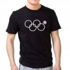 Fashionable Sochi Faulty Olympic Rings Pattern Cotton T-shirt - Black (XXL)