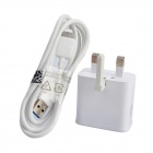 UK Plug Charger + Charging/Data Cable for Samsung S5 - White (100~240V / Cable-100cm)