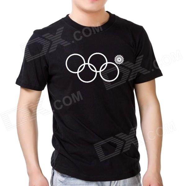 Fashionable Sochi Faulty Olympic Rings Pattern Cotton T-shirt - Black (XL)