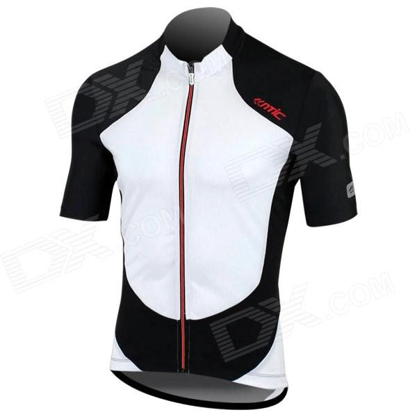 Santic MC02044 Cycling Polyester Fiber Short Sleeves Jersey for Men - White + Black (XL)