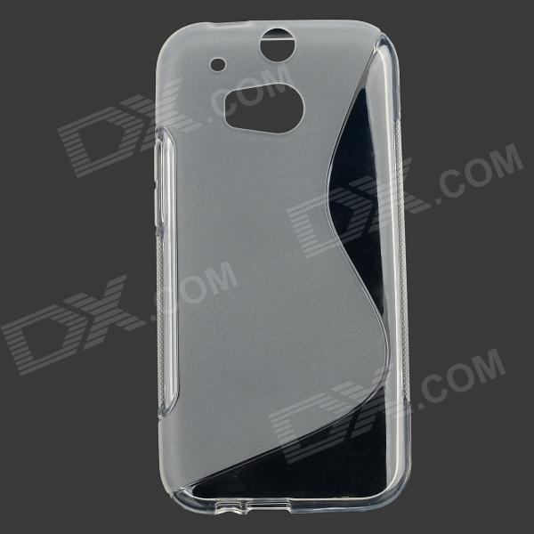 ''S'' Shaped Protetive Soft TPU Back Case for HTC ONE 2 / M8 - Transparent s style protective tpu back case for htc one 2 mini m8 black