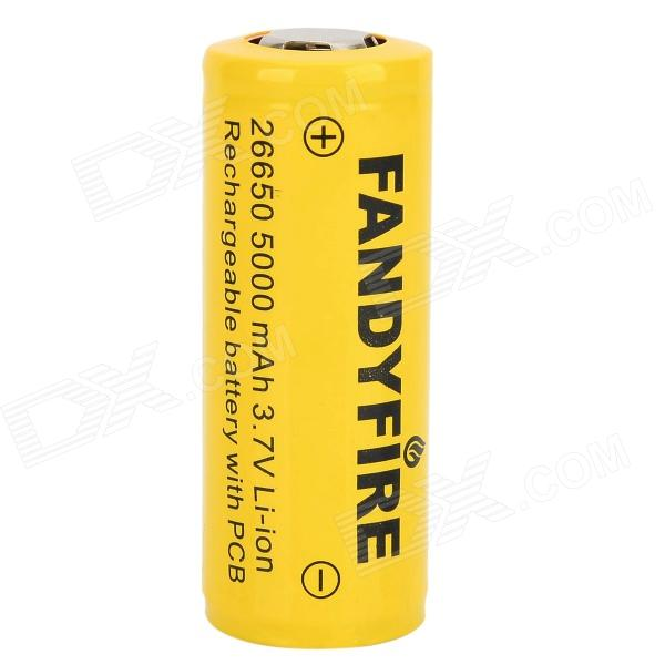 FANDYFIRE 4000mAh 26650 3.7V Li-ion Rechargeable Battery - Yellow yes yes relayer cd dvd